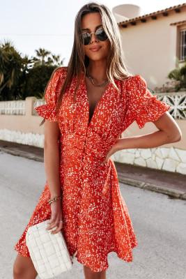 Mini-robe boutonnée à imprimé floral et col en V à manches volantées