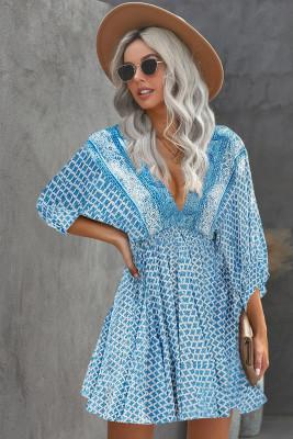 أزرق سماوي رقبة على شكل V 3/4 كم فستان قصير بطبعة عتيقة بوهيمية