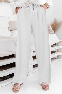 سروال أبيض بخصر مرتفع برباط واسع الساقين