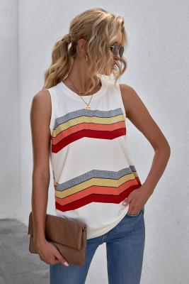 Camiseta sin mangas blanca con cuello redondo y rayas en bloques de color