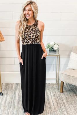 Robe longue sans manches à corsage léopard avec poches