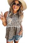 Camiseta sin mangas a rayas de leopardo