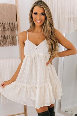 فستان قصير أبيض منقّط ومنقط