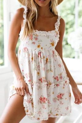 أبيض بلا أكمام كشكش عارية الذراعين فستان زهري عقدة