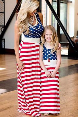 Robe longue drapeau américain assortie Daughter & Me