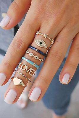 8 قطع القلب الحب مجموعة خاتم حجر الراين