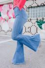 Jeans acampanados de cintura elástica de tiro alto azul cielo