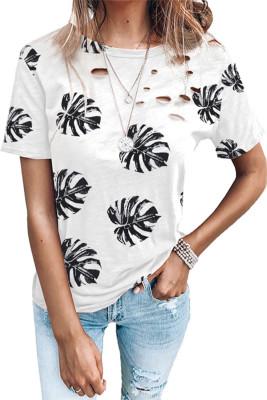 Camiseta con estampado de hojas y cuello redondo desgastado
