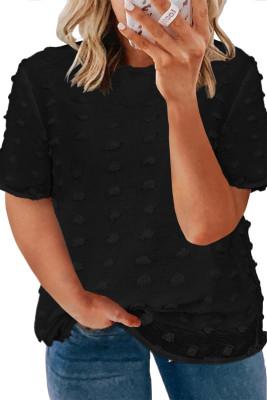 بلوزة بأكمام قصيرة من نسيج سويسري مقاس كبير باللون الأسود