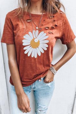 Camiseta con estampado de margaritas de cuello redondo desgastado naranja
