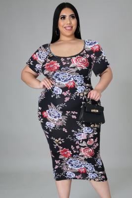 أسود حجم كبير الأزهار قصيرة الأكمام سليم صالح فستان ميدي