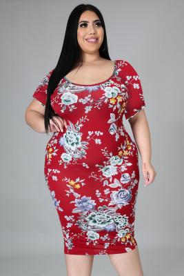 فستان أحمر متوسط الطول بأكمام قصيرة وأكمام قصيرة مقاس نحيف