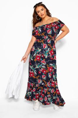 فستان ماكسي بكشكشة زهور مكشوف الكتفين بمقاسات كبيرة