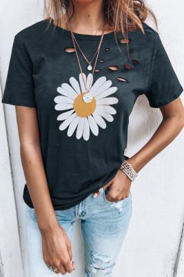 Camiseta con estampado de margaritas de cuello redondo desgastado en negro