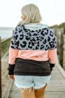 Sudadera con capucha y bolsillo con estampado de leopardo en bloques de color de talla grande