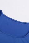 أزرق سكوب العنق ارتداءها الإبهام طويلة الأكمام