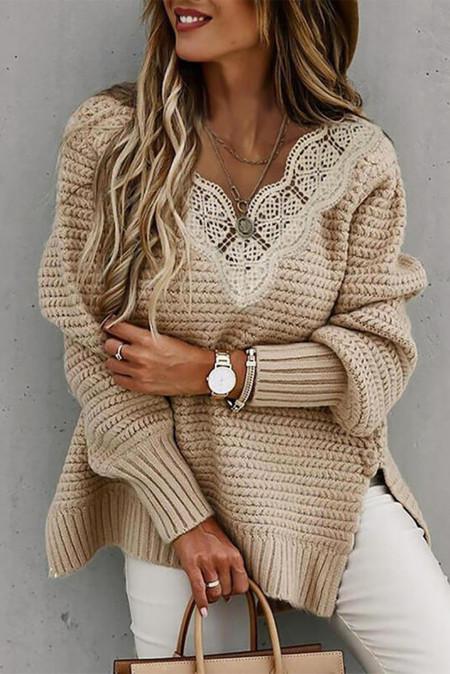 Jersey casual de encaje con cuello de pico festoneado en beige