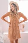 فستان قصير بدون أكمام بأزرار أمامية مع جيوب
