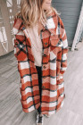 Abrigo con botones y bolsillos con cuello vuelto a cuadros naranja
