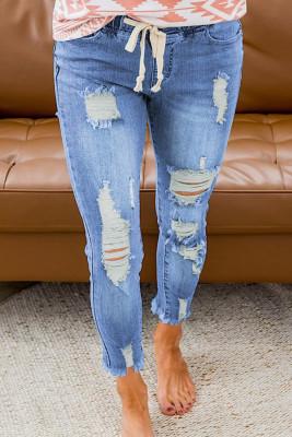 بنطال جينز بفتحات مطاطية لون أزرق سماوي
