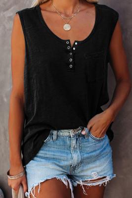 Camiseta sin mangas negra con cuello redondo y botones a presión con bolsillo