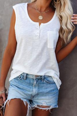 Camiseta sin mangas blanca con cuello redondo y botones a presión con bolsillo