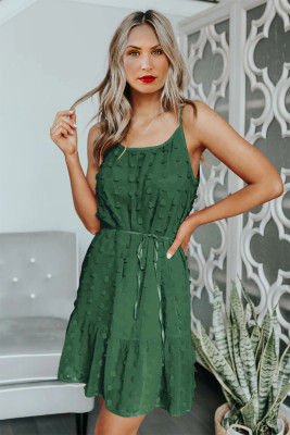 Mini-robe verte avec cordon de serrage spaghetti à pois