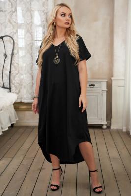 Vestido largo de manga corta con cuello en V negro y aberturas
