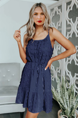 Mini-robe bleue à cordon de serrage spaghetti à pois