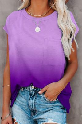 Camiseta morada de manga corta con bolsillo en color degradado