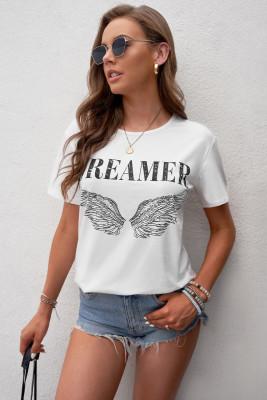 أبيض - تي شيرت بطبعة أجنحة الملاك دريمير