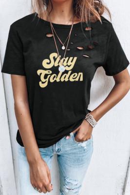 Camiseta con cuello redondo y letras desgastadas