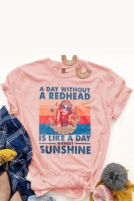 الوردي RedHEAD فتاة الجرافيك تي شيرت