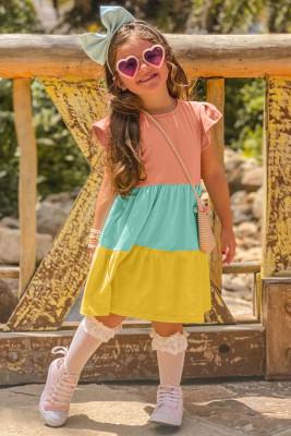 فستان أصفر بأكمام مكشكشة Colorblock للأطفال