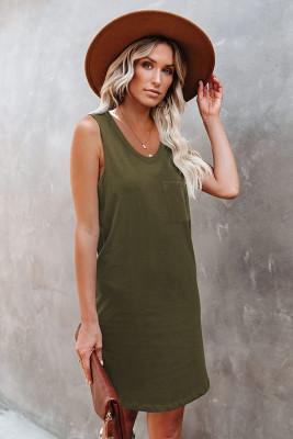 Army Green Chest Pocket Tank Mini Dress